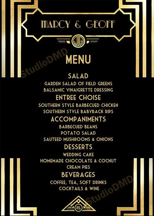 Image Result For Free Great Gatsby Menu Template Printable