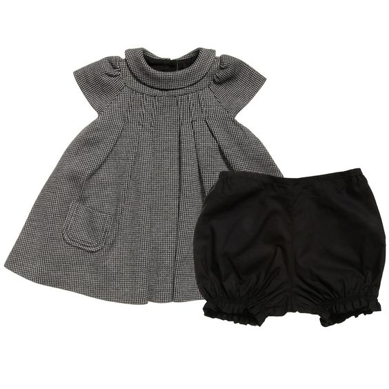Dior Baby Girls Grey Houndstooth Dress & Knickers