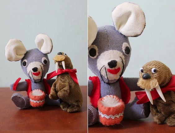 vintage 1940's drummer mouse and windup walrus by FancyFineVintage, $65.00