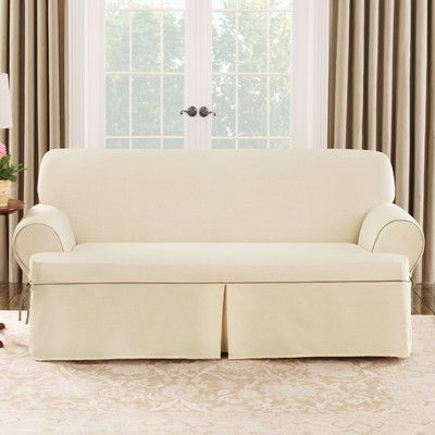 Sure Fit Cotton Duck Sofa T-Cushion Slipcover | Wayfair