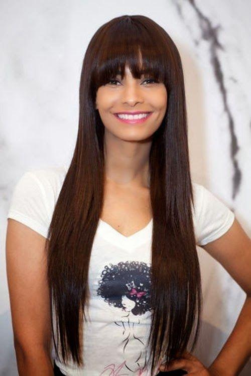 Surprising Beautiful Long Hair And Bangs On Pinterest Short Hairstyles Gunalazisus