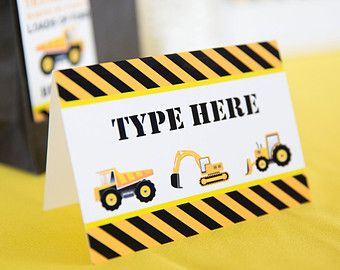 Construction Party Food Labels INSTANT DOWNLOAD - Builder - Dump Truck Party by Printable Studio