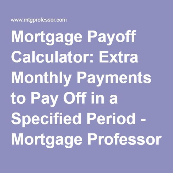 Mortgage Payoff Calculator Extra Monthly Payments To Pay Off In A