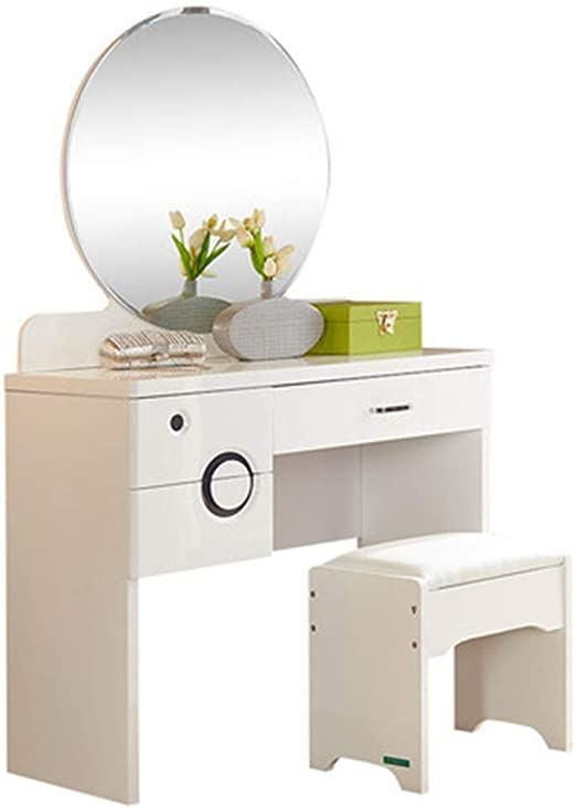 Foldable Mirror And Stool Makeup Vanity, White Dressing Table With Fold Down Mirror
