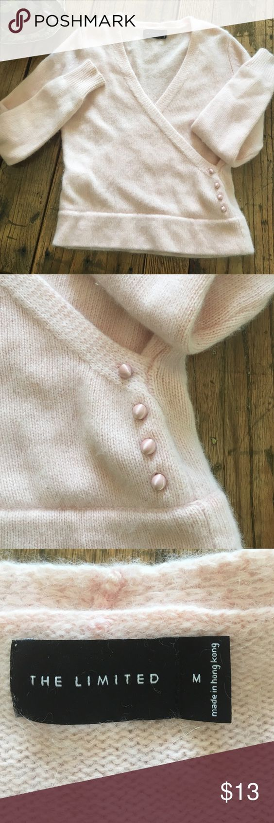 THE LIMITED  50%angora 50%lambswool pink sweater Very pretty cross over sweater. Has 4 satin buttons on the left side. Size M The Limited Sweaters V-Necks