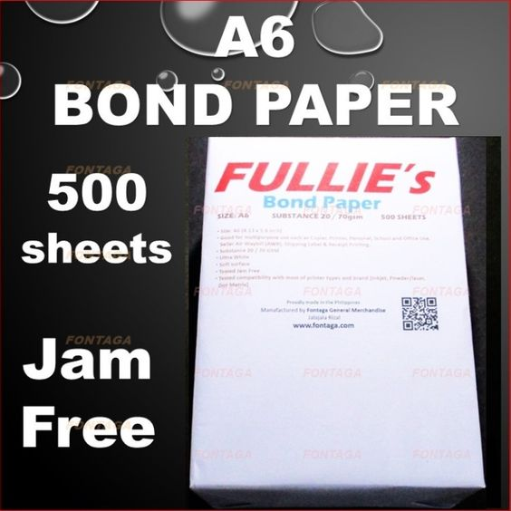 Buy A6 Printer Copier Bond Paper 500 Sheets (COD) | Fontaga