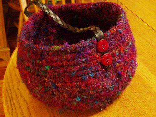 sari silk crochet bowl