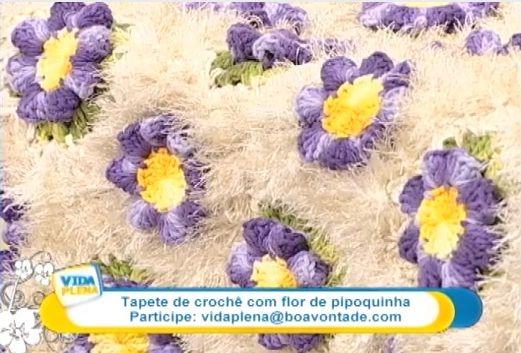 """""""Crochê da Mimi"""": Passo a passo: tapete com flor pipoquinha por Cristina Luriko"""