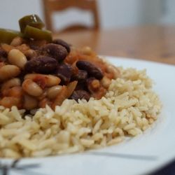 A simple and healthy 3 Bean Chili served with Brown Basmati Rice and Jalapeno Chili Peppers