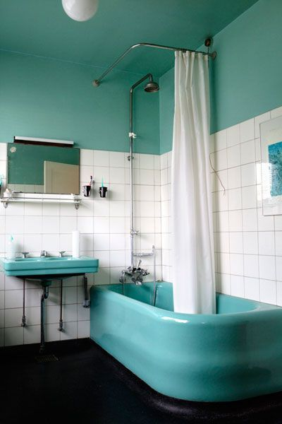 Vintage turquoise bath,1933. Love the vintage turquoise bath tub and sink!