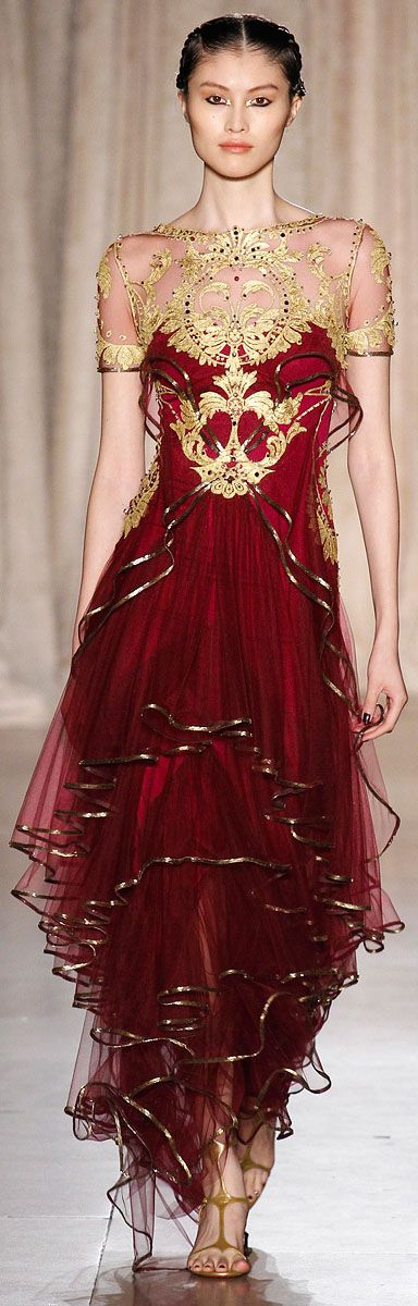 Marchesa SS RTW 2013 // love the details in gold on the torso, not a fan of the bottom of the dress...