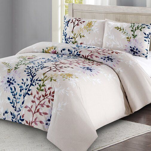 Amina Dahlia Lane Floral Stems 100 Cotton 3 Piece Duvet Cover Set