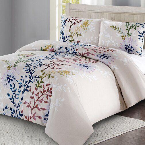 Amina Dahlia Lane Floral Stems 100 Cotton 3 Piece Duvet Cover Set