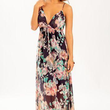 Rose To Fame Dress: Navy/Multi