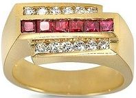 #Jewelry 18k Yellow Gold Men's Diamond and Ruby Ring