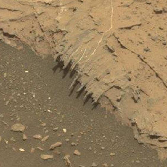 "Interesting little ""tendrils"" of rock. Curiosity, sol 1441."