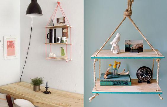 Prateleira de corda, uma ideia simples e cheia de bossa!:
