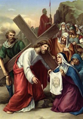 Sixth Station of the Cross.  Veronica Wipes the Face of Jesus: