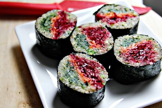 Quinoa sushi with beetroot, carrot, and cucumber. Genius.