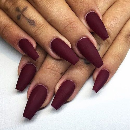 120 Best Coffin Nails Ideas That Suit Everyone Burgundy Nails Maroon Nails Trendy Nails
