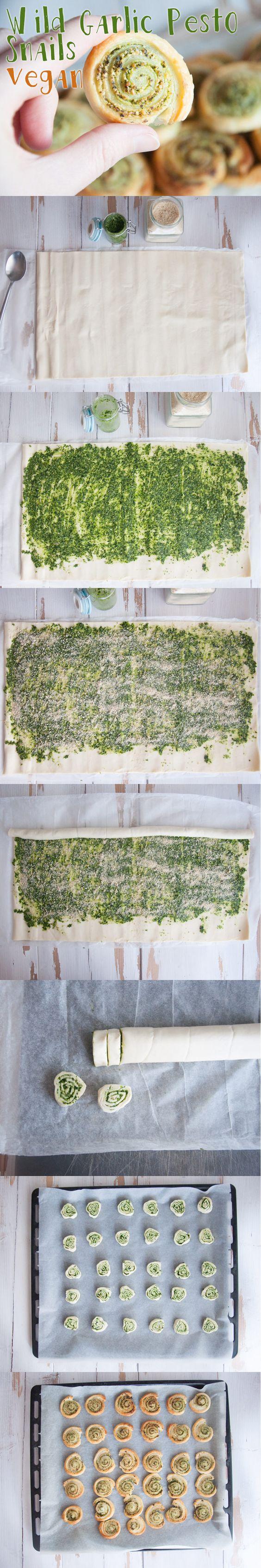 Blätterteigschnecken mit Knoblauchpesto