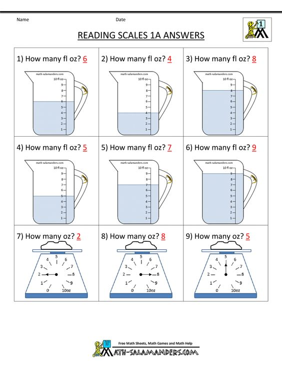 math worksheet : 1st grade math worksheets reading scales 1a ans  1000×1294  : Math And Reading Worksheets