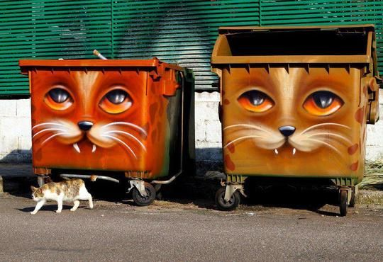 I like it!  Why can't Graffiti be like Graffiti animals on trash bins only??? Wish some of the talented graffiti artists would lean THIS DIRECTION  !!!   Cats from Berlin, Germany:) . Good concept, creepy result.