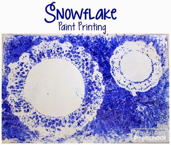 Snowflake Paint Printing from Play to Learn Preschool