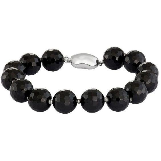 Sterling Silver Onyx Bead Bracelet ($200) ❤ liked on Polyvore featuring jewelry, bracelets, black, onyx bangle, sterling silver jewelry, sterling silver bead jewelry, onyx jewelry and sterling silver jewellery
