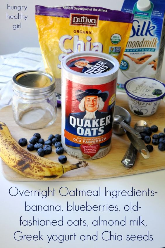 Overnight oatmeal, Overnight oats and Blueberries on Pinterest