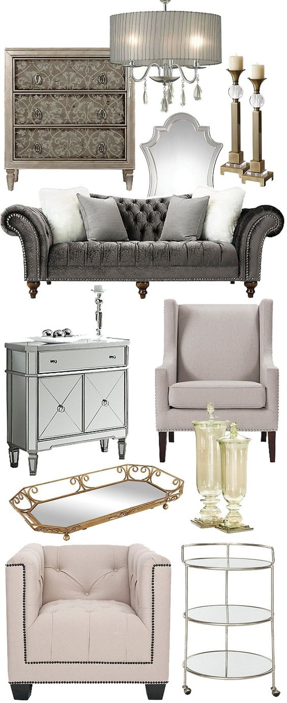 Sumptuously showy yet still refined, vintage glam combines the glamour of Hollywood and the elegance of classic furniture designs. This regal look blends traditional details like button tufting and nailhead trim with modern materials for added sparkle. Embrace Hollywood regency to show off your polished sense of style.