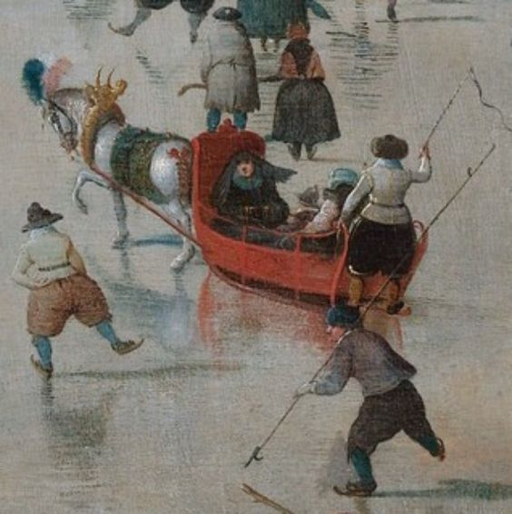 imagediver:    Click on the image to see the detail in a zoomable context.  Detail from Winter Landscape with Skaters, Hendrick Avercamp: