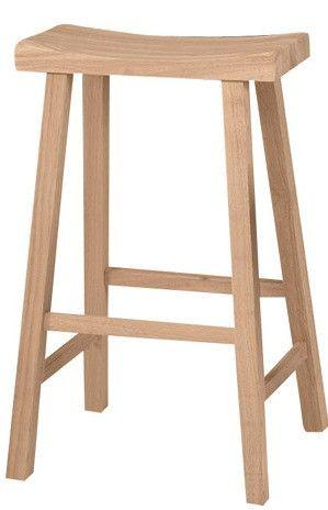 """29"""" Hardwood Saddle Seat Stool Unfinished - 2 Pack"""