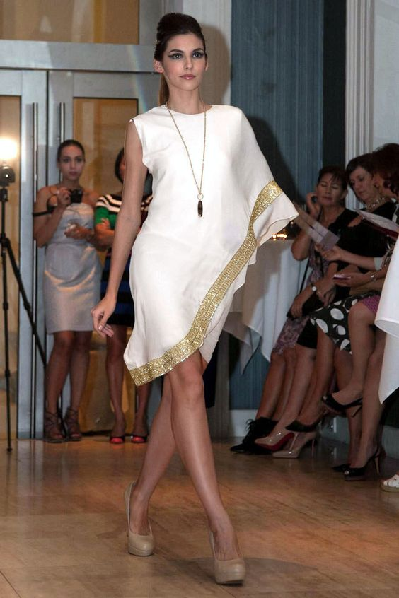 sari cocktail dress - White grecian style dress by Singapore based ...