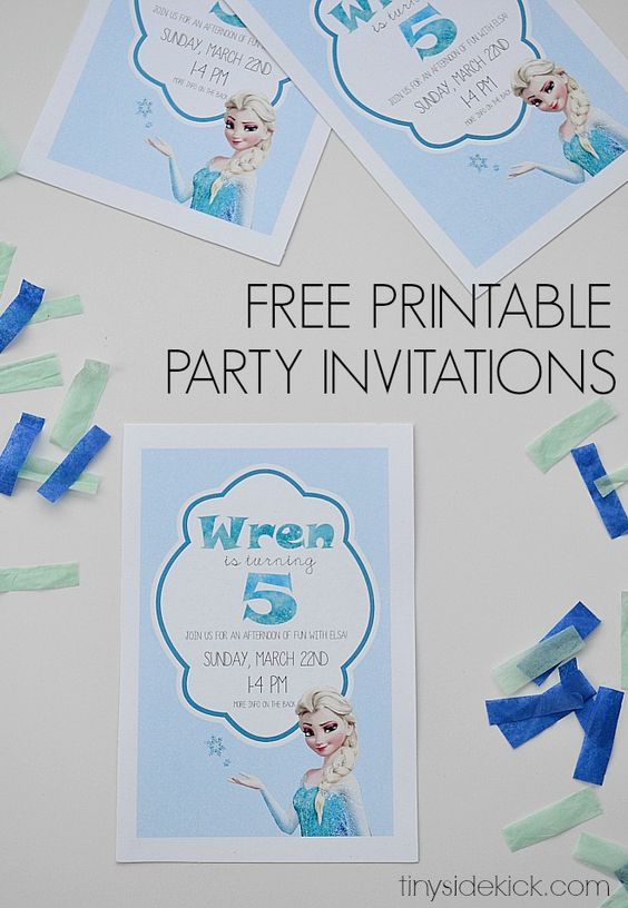 Free Printable Frozen Birthday Party Invitations- Print these for your next Frozen party and follow the easy instructions to add your own text. (Can also be double sided if you have extra info.)