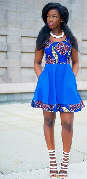 Ankara Print Spring Dress -Blue:
