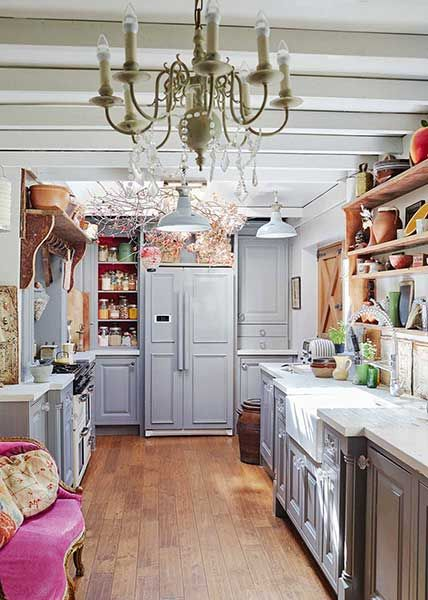 farrow & ball mole's breath painted kitchen