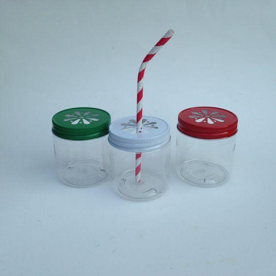Plastic Mason Jar Plastic mason jar with daisy by ThePartyGnome