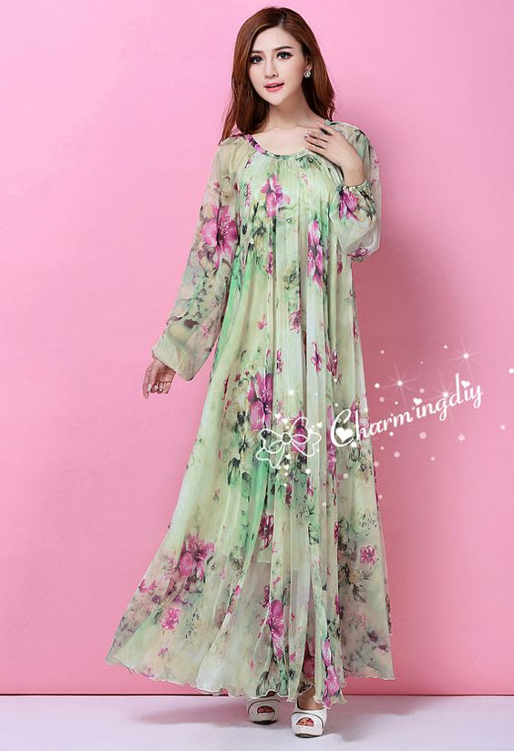 29 Colors Chiffon Flower 2015 Spring Long Sleeve by CHARMINGDIY
