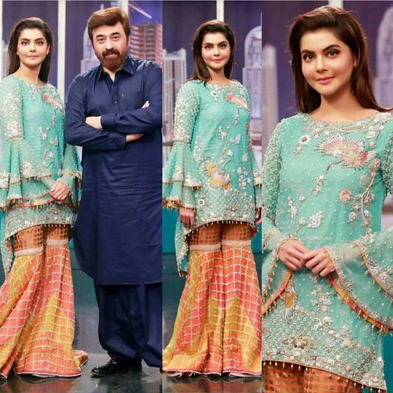 Stitching Styles Of Pakistani Dresses Aqua Blue Peplum frock