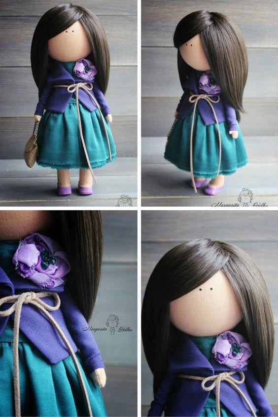 Decor doll handmade brunette green purple by AnnKirillartPlace