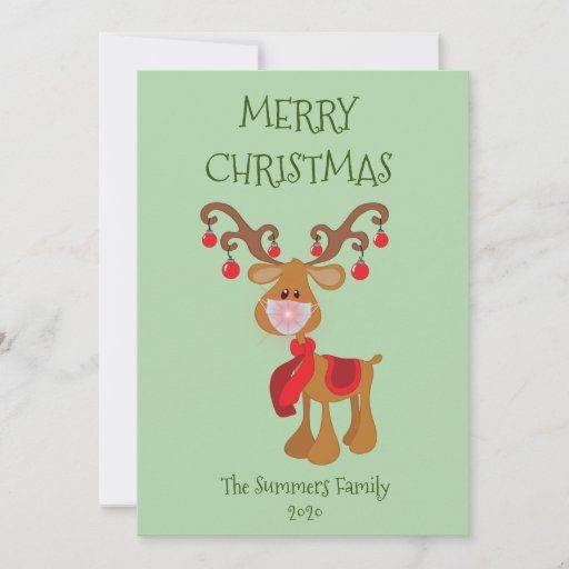 Merry Christmas Rudolph Reindeer Face Mask 2020 Holiday Card Zazzle Com Christmas Cards To Make Holiday Design Card Christmas Stationery