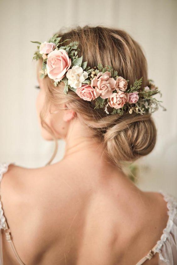 Blush flower crown by FaberAccessories. Wedding flower crown Blush floral crown Bridal flower hair piece Blush Wedding crown Bridesmaid crown Flower girl crown  #weddingideas #bohowedding