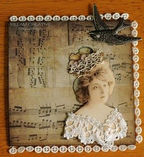 """""""Bird's Nest"""", an unbound 4""""x4"""" page for an Altered Ancestors little book swap. Made by Susan @ Killam Creative."""