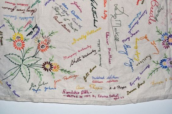 Family Tablecloth -- have everyone in the family sign a tablecloth at Thanksgiving, and embroider over their signatures. Add to it over the years.: