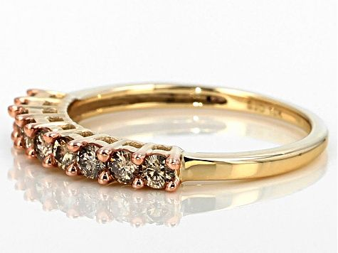 Champagne Diamond 10k Yellow Gold Band Ring 45ctw Rgd169 Gold Band Ring Champagne Diamond Gold Bands