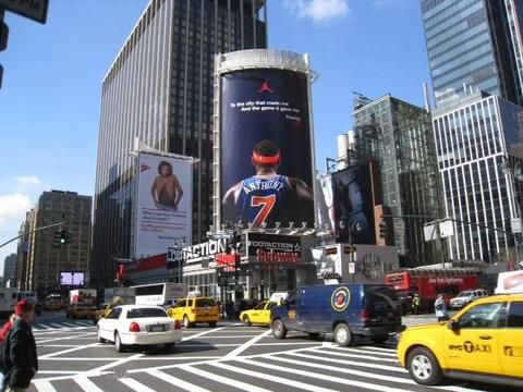 """Carmelo Anthony billboard revealed by Madison Square Garden today: """"To the city that made me. And the game it gave me. Thanks."""" #knicks"""