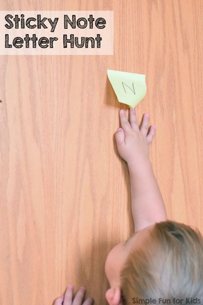 Super simple literacy activities for toddlers: My 2-year-old got all kinds of kicks from this Post-It Note Letter Hunt that helped him take another step towards learning his letters!