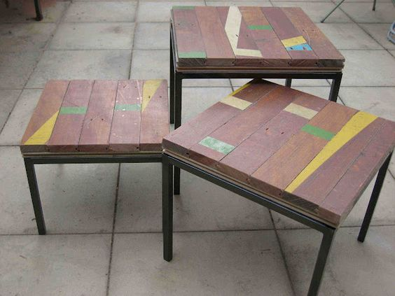 old Ikea table bases & recycled wood= gorgeous (and ecological)!