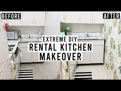 Extreme Diy Rental Kitchen Makeover Peel Stick Backsplash Removable Wallpaper Vinyl Floor Youtub Rental Kitchen Rental Kitchen Makeover Vinyl Flooring